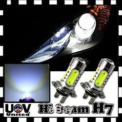 2 x H7 6000K CREE COB LED Headlight Hyper White High Beam Light Bulbs Power Lamp