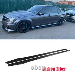 2PCS Carbon Fiber Side Skirts Extension For Benz W204 W205 W213 W222 W218 205CM