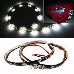 6000K White 12 Side Glow Audi A5 R8 Style 15-SMD LED Strips Lights Headlight