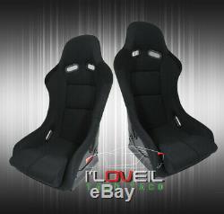Black Cloth Full Firm Hold Bucket Car Racing Seats Side Mount Slider Rails Pair