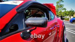 F1 Style Real Carbon Fiber Car Side Blue Rearview Mirror Metal Bracket Universal