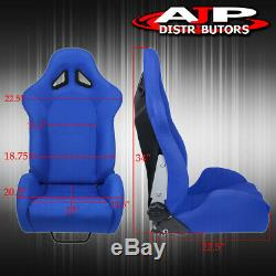 For Gmc Sport Style Truck Suv Racing Bucket Seat Chair Blue + Slider Side Mount