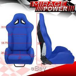 For Jeep Dodge Diy Racing Side Bolster Chair Bucket Seats Blue + Slider Mount