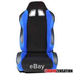 Left Driver Side Black/Blue Fabric Reclinable Sport Racing Seat 1PC+Sliders