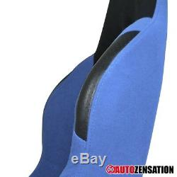 Left Driver Side Reclinable Sport Racing Seat Steel Blue/Black Cloth 1PC+Sliders