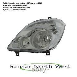 Mercedes Benz Sprinter Passenger Side Headlamp Headlight No Fog N/S LEFT 0614
