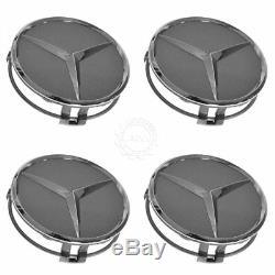 OEM 22040001257756 Wheel Cap Gray & Chrome Center Set of 4 for Mercedes Benz