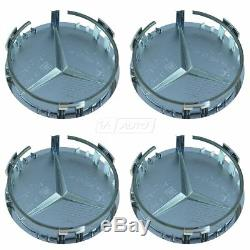OEM Wheel Center Cap With Raised Star Set of 4 Chrome for Mercedes Benz 66470207
