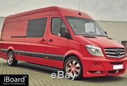 Premium 6 Black iBoard Side Steps Fit 10-19 Dodge / Mercedes-Benz Sprinter