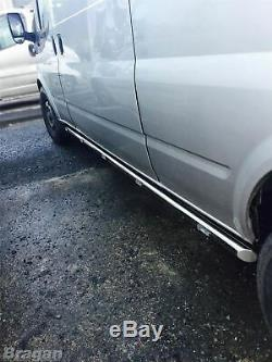 To Fit 14-18 Mercedes Sprinter MWB 2 Stainless Steel Side Bars + 5x White LED