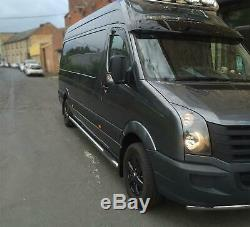 To Fit 2006-2014 Mercedes Sprinter LWB Side Bars Round Ends Tubes + Step Pads x3