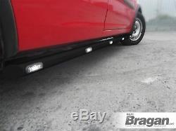 To Fit 2006 2014 Mercedes Sprinter SWB Black Side Bars Tubes + White LEDs