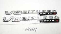 V8 BiTurbo 4Matic+ Emblem Side Fender 3D Chrome Badge Mercedes Benz AMG CL63 E63