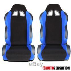 2pc Gauche + Côté Droit Noir / Bleu Tissu Inclinable Sport Racing Seat + Sliders