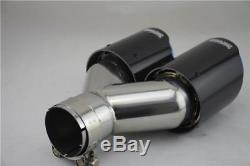63-89mm Gloss Réel En Fibre De Carbone + Acier Inoxydable Voiture Double Tuyau D'échappement Côté Droit