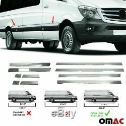 Convient Mercedes Sprinter 2006-2018 Garniture De Porte Latérale Chrome Streamer Extra Long 170