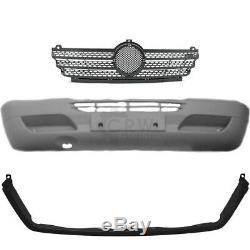 Ensemble Pare-chocs Avant Gris Incl. Grille Support Mercedes Sprinter 901-905 Construit 00-06