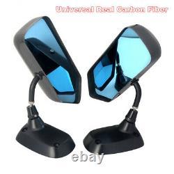 F1 Real Style En Fibre De Carbone Voiture Blue Side Rearview Mirror Support Métal Universel