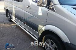 Fits À Mercedes Sprinter & Vw Crafter Chrome Side Bars 70mm 2007-2018 Moyen-wb