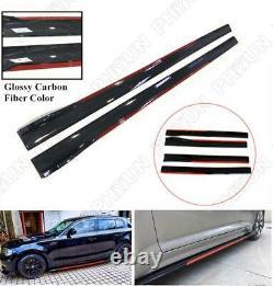 Gloss Carbon Fiber Car Side Skirt Extension Splitter Rocker Panel Body Tablier Kit