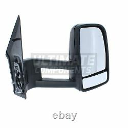 Mercedes Sprinter Van 2006-4/2019 Manual Long Arm Wing Mirror Black Drivers Side