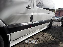 Mercedes Sprinter W906 06-17 Streamer De Porte Latérale Chromé 10pc, Extra Longue, Acier Inoxydable