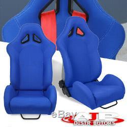 Pour Gmc Sport Style De Camion Suv Racing Seat Bucket Blue Chair + Curseur À Montage Latéral