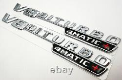 V8 Biturbo 4matic+ Emblem Côté Fender 3d Chrome Insigne Mercedes Benz Amg Cl63 E63
