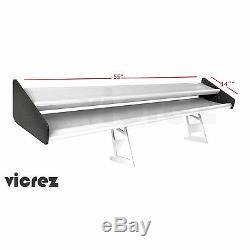 Vicrez Aluminium Universal Spoiler Arrière 56 Double Pont Aile Noir Côté Gt Style